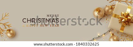 Christmas banner. Background Xmas design of realistic beige gifts box, golden 3d render snowflake and glitter gold confetti, bauble ball. Horizontal christmas poster, greeting card, header for website Royalty-Free Stock Photo #1840332625
