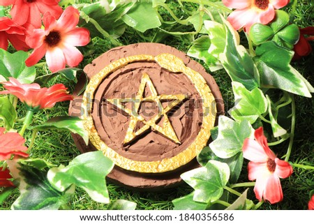 The Pantacle symbol is used in the ritual of the mage.This picture is suitable for composing a mystic article.