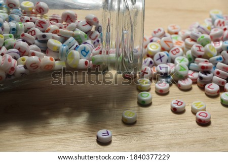 English alphabet beads, pictures for DIY work.