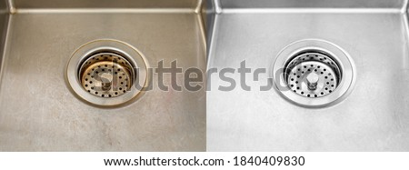 Compare image before - after cleaning with special detergent of the dirty stainless sink in a cafe that been using a long time with coffee wasted. Brown color from the coffee stain on a stainless sink #1840409830