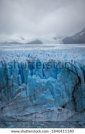 Vertical View Glacier Perito Moreno national park Los Glaciares. The Argentine Patagonia in Autumn.