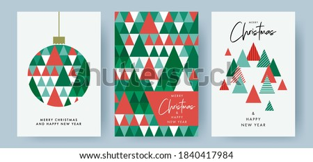 Merry Christmas and Happy New Year Set of greeting cards, posters, holiday covers. Modern Xmas design with triangle firs pattern in green, red, white colors. Christmas tree, ball, decoration elements Royalty-Free Stock Photo #1840417984