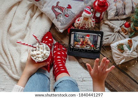 Christmas online holiday remote celebration X mas new year in lockdown coronavirus quarantine covid 19 new normal, social distance, remote communication, stay home vocation, Christmas party online #1840441297
