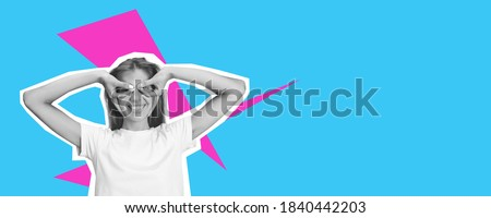 Superhero posing young beautiful girl. Collage in magazine style with bright blue background. Flyer with trendy colors, copyspace for ad. Discount, sales season, fashion and style concept. Royalty-Free Stock Photo #1840442203