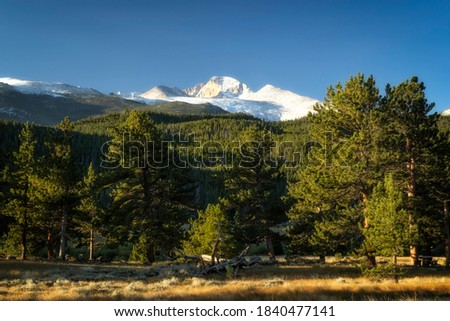 A snow Capped Longs Peak as seen from Beavers Meadow in Rocky Mountain National Park #1840477141