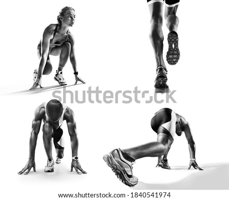 Sports background. Runner feet running on road closeup on shoe. Runner on the start. Black and white image isolated on white. #1840541974