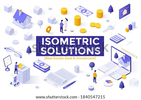 Real Estate Deal and Investment set - property buyers and sellers, houses, service for search for real estate. Bundle of isometric design elements isolated on white background. Vector illustration. Royalty-Free Stock Photo #1840547215