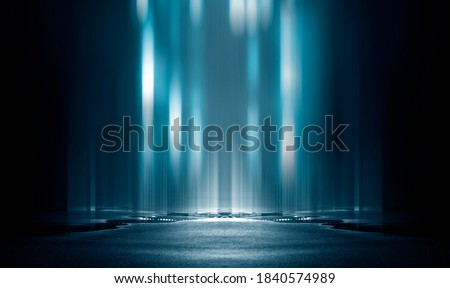 Light effect, blurred background. Wet asphalt, night view of the city, neon reflections on the concrete floor. Night empty stage, studio. Dark abstract background, dark empty street. Night city. #1840574989