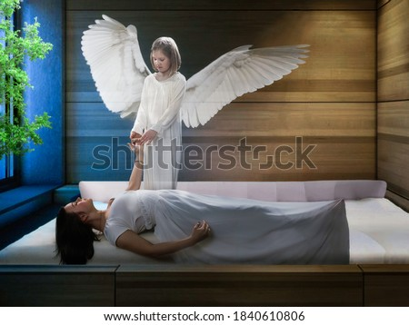 The concept of the astral plane, out-of-body experience, and the afterlife Royalty-Free Stock Photo #1840610806
