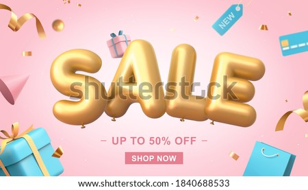 3d illustration of sale banner on pink background, sale word balloon with credit card, shopping bags, gift box, price tag and confetti elements flying around #1840688533