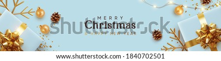 Christmas blue banner. Background Xmas design of realistic blue gifts box, golden 3d render snowflake and glitter gold confetti, bauble ball. Horizontal poster, greeting card, headers for website #1840702501