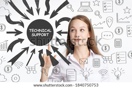 Business, technology, internet and network concept. Young businessman thinks over the steps for successful growth: Technical support #1840750753