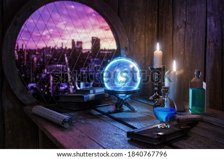 magic potions bottles, burning candle and other various witchcraft accessories on the wizard table background.  Royalty-Free Stock Photo #1840767796