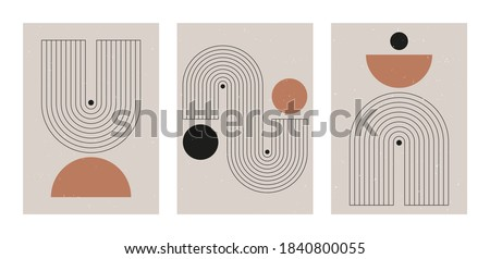 Set of abstract contemporary mid century posters with geometric shapes. Design for wallpaper, background, wall decor, cover, print, card, branding. Modern boho minimalist art. Vector illustration. Royalty-Free Stock Photo #1840800055