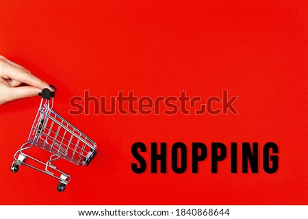 Little shopping cart, trolley for clothes, products, technics is on red background canvas. Black friday sale, cyber monday concept. Seasonal discount. Hot low price. Best deal offer to buy cheap goods