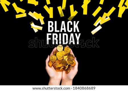 Female hands are holding golden dollar euro coins. Woman prepared money for shopping. Black friday concept. Seasonal discount sale. Special prices. Best deal offer to buy cheap goods, gifts.