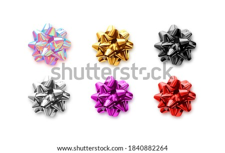 Bows Multi-colored fluffy. Set of realistic holiday gifts bow, 3d festive celebrate objects. New Year, Christmas, decorative elements for birthday. Xmas decor for gifts. vector illustration Royalty-Free Stock Photo #1840882264