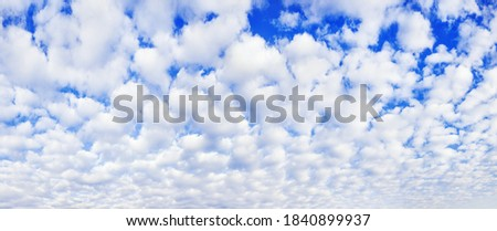 White cumulus clouds on blue sky background, beautiful cirrus cloudscape wide panoramic view, cloudy skies panorama, fluffy cloud texture, sunny heaven landscape, cloudiness weather backdrop, overcast Royalty-Free Stock Photo #1840899937