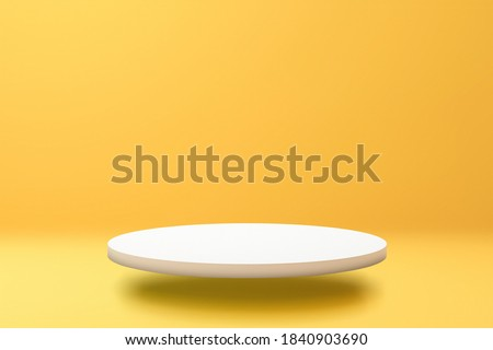 White podium shelf or empty pedestal display on vivid yellow summer background with minimal style. Blank stand for showing product. 3D rendering. Royalty-Free Stock Photo #1840903690
