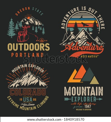 Collection of vintage explorer, wilderness, adventure, camping emblem graphics Royalty-Free Stock Photo #1840918570
