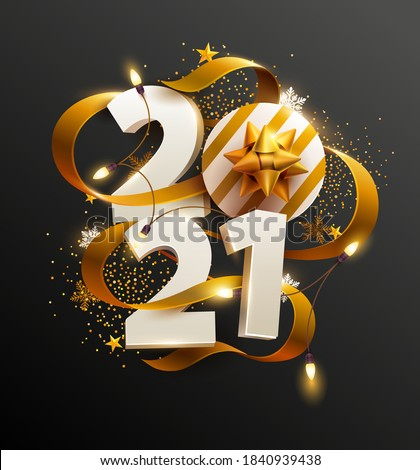New Years 2021. Greeting card with date and ribbon #1840939438