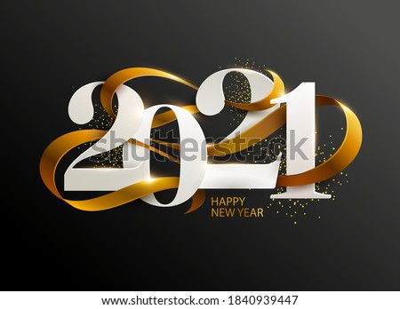 New Years 2021. Greeting card with date and ribbon on black background Royalty-Free Stock Photo #1840939447