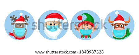 set of Christmas pandemic stickers. Santa Claus, deer, elf, bull in medical protective masks. funny icons of Christmas characters in the year of the bull. vector illustration isolated  #1840987528