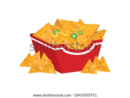 Mexican nacho chips in a box icon illustration. Mexican nachos corn tortilla with cheese and peppers clip art. Nacho chips in a box icon isolated on a white background