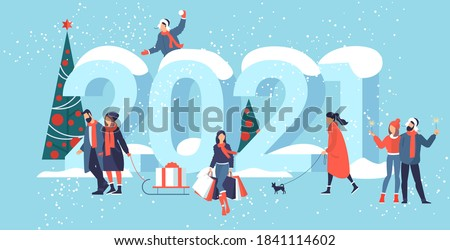 Flat design Christmas and New Year vector concept. Preparing to meet 2021 new year. Business people building the numbers 2021.  Royalty-Free Stock Photo #1841114602