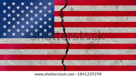 The United States national flag icon on weathered broken cracked wall, USA political conflict concept texture background wallpaper