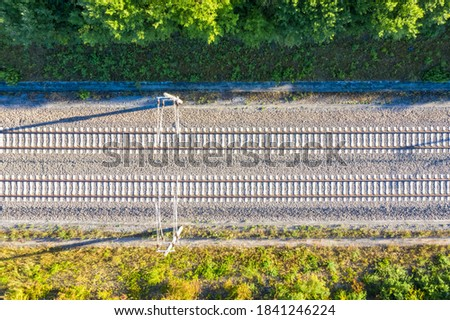 Railway track tracks line railroad train rail aerial photo view travel