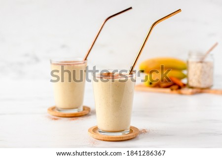 Healthy Banana Smoothie Shake with Protein Powder. Protein Shake. Protein Smoothie. Banana Bread Smoothie with Protein Powder. Fresh and Nourishing Smoothie.  #1841286367