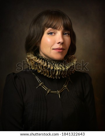 Portrait of renaissance young lady in collar Royalty-Free Stock Photo #1841322643