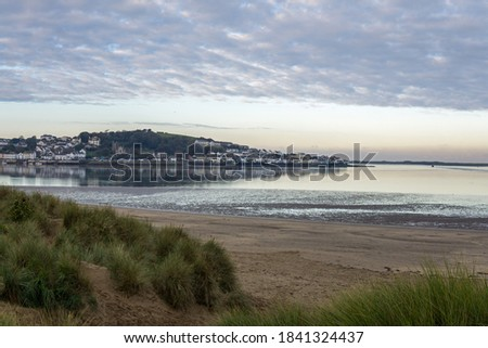 The village of Appledore viewed through the sand dunes of Instow Beach located on the North Devon coast of England. Royalty-Free Stock Photo #1841324437