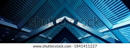 Collage photo of grid structures resembling pitched roof, metal girders and ceiling windows with blinds. Abstract modern architecture background with triangular and polygonal geometric pattern.  #1841411227