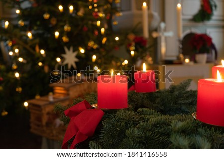 Christmas in a little church Royalty-Free Stock Photo #1841416558