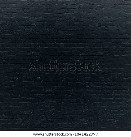 Black Brick Wall Texture Background. Charcoal Brickwork. Grunge Grey Gray Shabby Wall Surface. High Quality Banner For Design Square Format. #1841422999