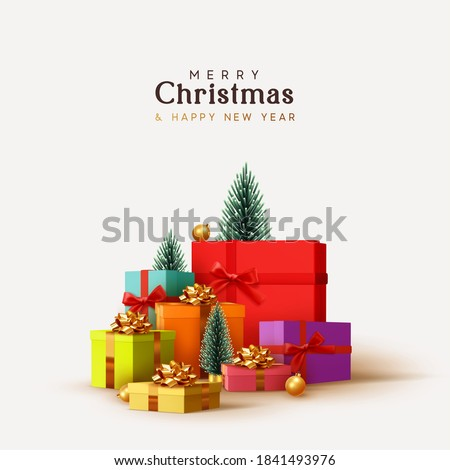 Merry Christmas and Happy New Year design. Realistic pile gifts boxes. Big lot gift box decorative festive object. Holiday banner, web poster, flyer, stylish brochure, greeting card. Xmas background #1841493976