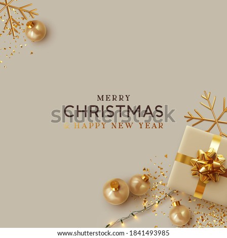 Merry Christmas and Happy New Year. Background Xmas design realistic gifts box, festive decorative objects. flat lay top view. Christmas poster, holiday banner, flyer, stylish brochure, greeting card #1841493985