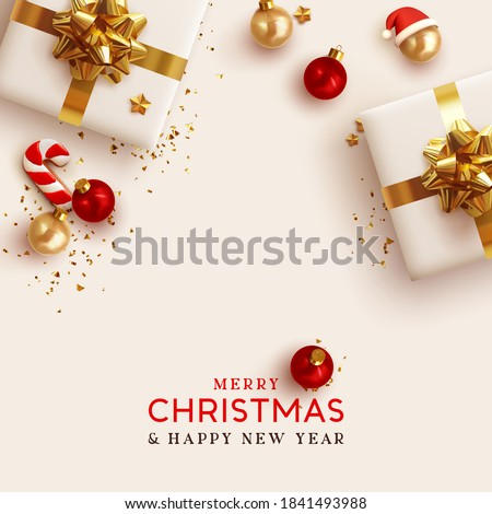 Merry Christmas and Happy New Year. Background Xmas design realistic gifts box, festive decorative objects. flat lay top view. Christmas poster, holiday banner, flyer, stylish brochure, greeting card #1841493988