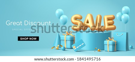 Great discount sale banner design in 3d illustration on blue background, sale word balloon on podium with credit card, shopping bag and gift design elements #1841495716