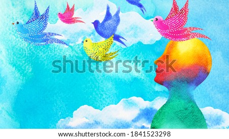 birds flying in blue sky abstract art mind mental health spiritual healing human head free freedom feeling watercolor painting illustration design drawing