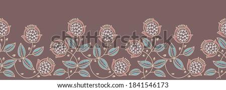 Seamless vintage Asian textile floral border Royalty-Free Stock Photo #1841546173