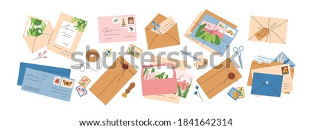 Collection of different envelopes with mail, postmarks and postcards vector flat illustration. Set of various craft paper letters, stationery, sealing wax and handmade cards isolated Royalty-Free Stock Photo #1841642314