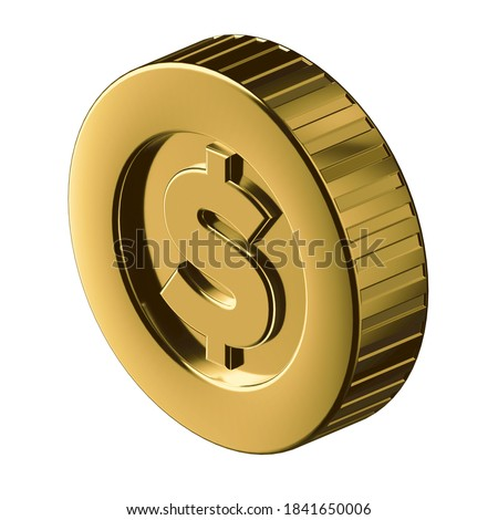 COIN 3D illustration in cartoon metal style not white background.