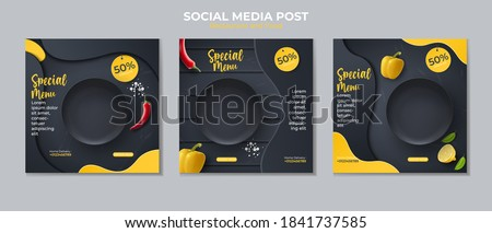 Food social media post template. vector illustration with plate, peppers, chilies. Royalty-Free Stock Photo #1841737585