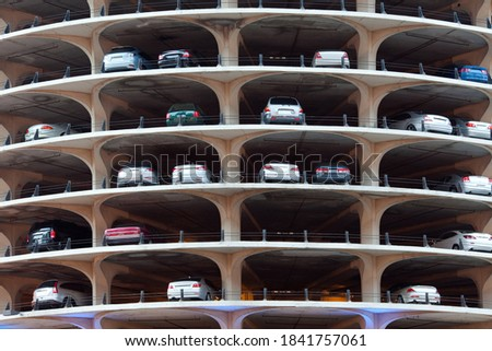 Cars parked in a building in Chicago, Illinois, USA