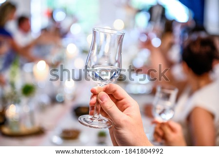 Wedding or party concept. Hand with a glass of vodka guest makes a toast, raising a glass Royalty-Free Stock Photo #1841804992
