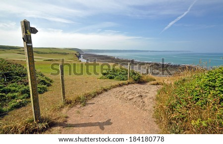 The South-West Coast path, Westward Ho!, North Devon ~ At Greencliff, 1 mile west of the resort of Westward Ho!, looking west towards Clovelly Royalty-Free Stock Photo #184180778