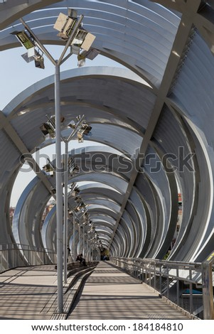 Interior view of the bridge Perrault in Rio Madrid, Spain. Metal bridge progresses in a spiral on pedestrians #184184810